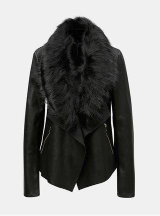 Černá koženková bunda s umělým kožíškem Dorothy Perkins Tall