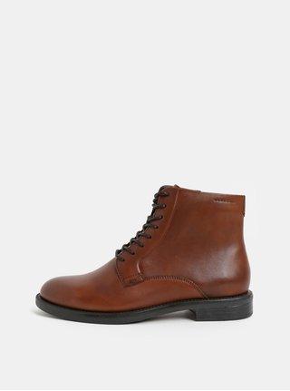 Hnědé dámské kožené kotníkové boty Vagabond Amina