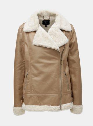 Béžová koženková bunda s umelou kožušinkou Dorothy Perkins