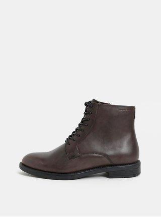 Tmavě hnědé dámské kožené kotníkové boty Vagabond Amina