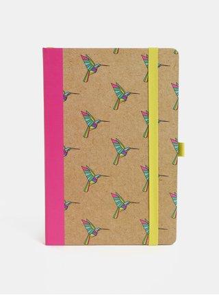 Caiet roz-maro cu motiv pasari colibri si legatura fixa Mustard