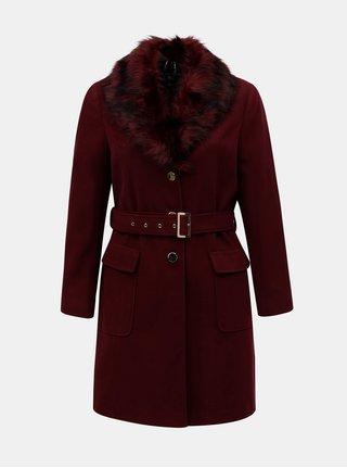 Vínový kabát s umelou kožušinkou Dorothy Perkins Curve