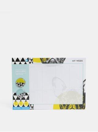 Čierno–biely plánovací blok s motívom psov a dvomi magnetmi Mustard