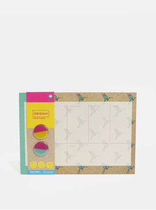 Zeleno–hnedý plánovací blok s motívom kolibríkov a dvomi magnetmi Mustard