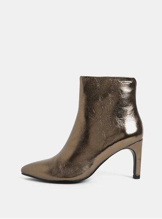 Metalické dámske kožené členkové topánky v zlatej farbe Vagabond Whitney