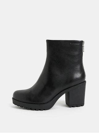 Čierne dámske kožené členkové topánky na podpätku Vagabond Grace