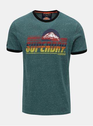 Tricou barbatesc verde melanj cu imprimeu Superdry Mountain Trail Ringer