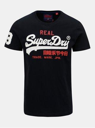 Tricou barbatesc albastru inchis cu imprimeu Superdry Eclipse
