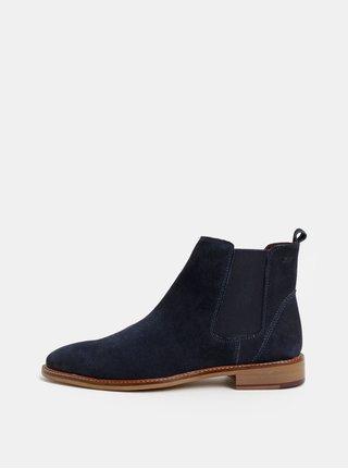 Tmavě modré pánské semišové chelsea boty London Brogues