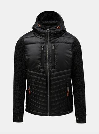 Jacheta barbateasca neagra lejera matlasata cu maneci impletite Superdry Storm Hybrid