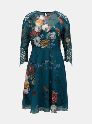 Petrolejové květované šaty s krajkovými detaily Little Mistress