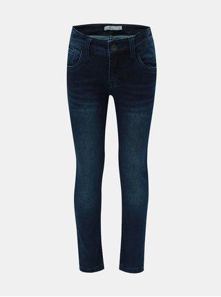 Tmavě modré klučičí slim džíny s vyšisovaným efektem Name it Robin