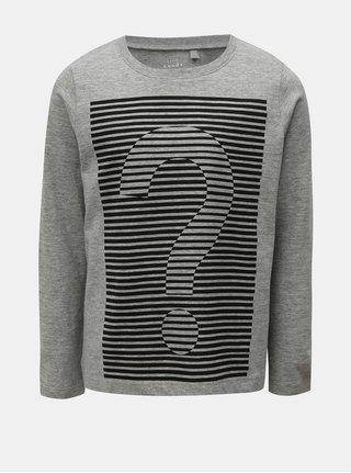 Sivé melírované chlapčenské tričko s potlačou Name it Vagno