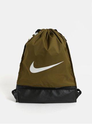 Kaki vak s potlačou a bočným vreckom na zips Nike Braslia 17 l