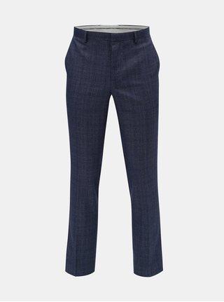 Modré kárované slim fit  kalhoty s puky Burton Menswear London