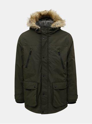 Khaki zimní bunda s umělým kožíškem Burton Menswear London