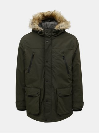 2fa7f746ad0b Kaki zimná bunda s umelou kožušinkou Burton Menswear London