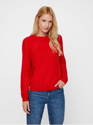 Červený svetr s děrovanými detaily VERO MODA Jay