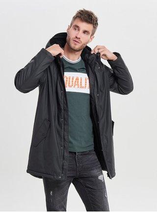 Černá pláštěnka s kapucí ONLY & SONS