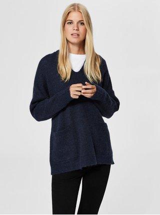 Pulover albastru lejer cu amestec de lana Selected Femme Livana