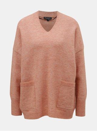 Růžový volný svetr s příměsí vlny a mohéru Selected Femme Livana