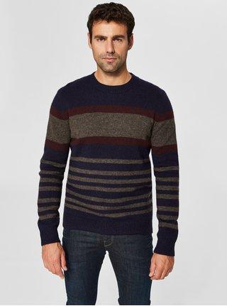 Hnědo-modrý vlněný svetr Selected Homme