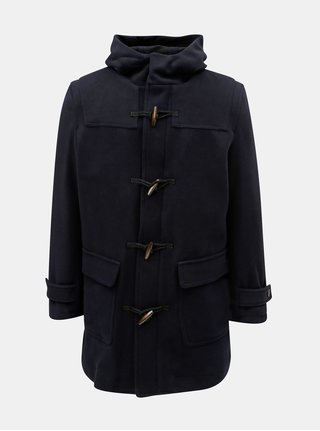 Tmavomodrý kabát s kapucňou a prímesou vlny Selected Homme