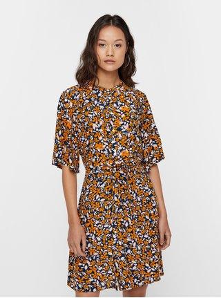 Oranžové áčkové kvetované šaty VERO MODA Billia