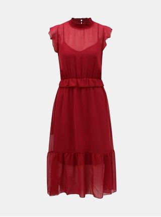 Vínové šaty s volánmi VERO MODA Becca