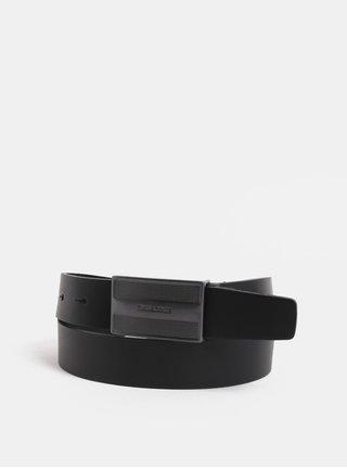Černý kožený pásek Jack & Jones
