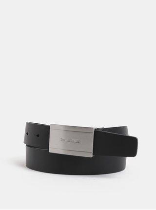 Černý kožený pásek s přezkou ve stříbrné barvě Jack & Jones