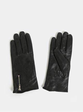 Čierne kožené rukavice so zipsom VERO MODA Finna