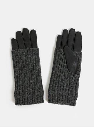 Čierne kožené rukavice s ohŕňateľným vlneným úpletom VERO MODA Mie