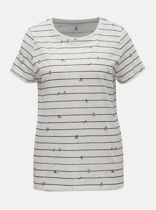 Bílé pruhované tričko s potiskem ONLY Bone