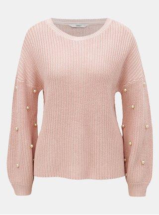 Růžový svetr s korálkovou aplikací na rukávech ONLY Mella