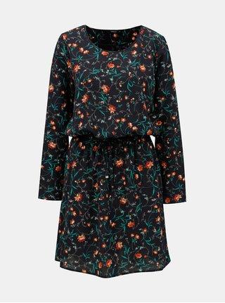 Tmavě modré květované šaty se zavazováním ONLY Nova Lux