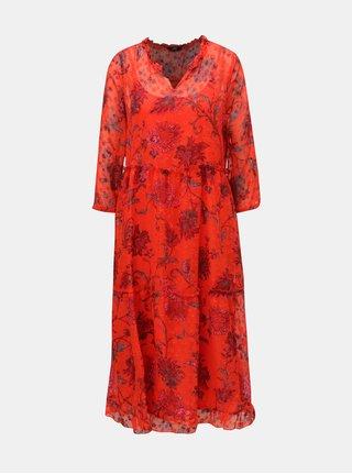 Červené květované volné midišaty s véčkovým výstřihem ONLY Celine