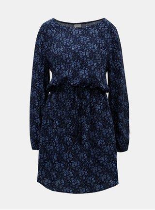 Modré vzorované šaty se stahováním v pase Jacqueline de Yong Fox