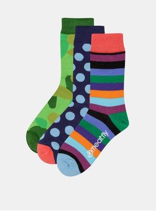 Sada tří párů vzorovaných unisex ponožek v modré, zelené a oranžové barvěMeatfly