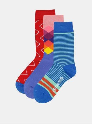 Sada tří párů vzorovaných unisex ponožek v modré, červené a růžové barvěMeatfly