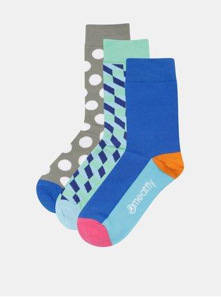 Sada tří párů vzorovaných unisex ponožek v modré, zelené a khaki barvěMeatfly