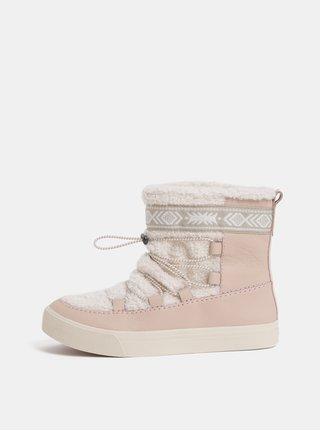 Růžové dámské kožené zimní kotníkové boty TOMS Alpine