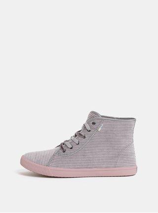 Pantofi sport inalti gri de dama din material reiat TOMS Cordury