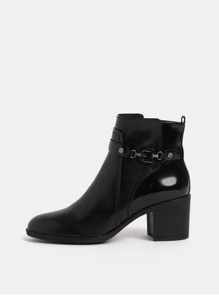 Černé dámské kožené kotníkové boty  na podpatku Geox Glynna