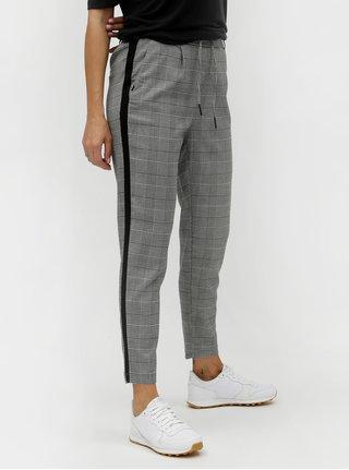 Pantaloni gri in carouri pana la glezne cu dungi laterale ONLY
