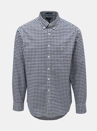 Bielo–modrá pánska kockovaná regular fit košeľa s výšivkou GANT