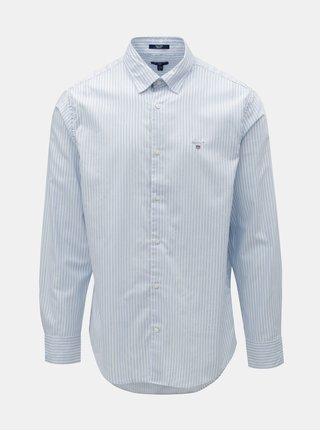 Bielo–modrá pruhovaná regular fit košeľa s výšivkou GANT
