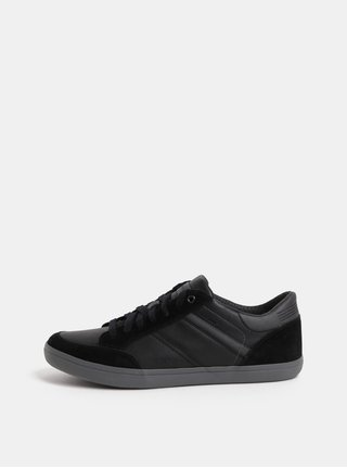 Pantofi sport barbatesti negri din piele cu detalii din piele intoarsa Geox Box
