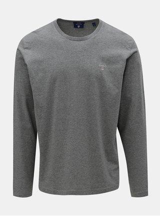 Sivé pánske melírované tričko s dlhým rukávom a výšivkou GANT