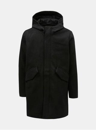 Čierny pánsky vlnený kabát s kapucňou Makia